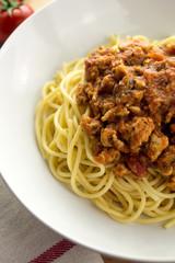 Closeup of chicken spaghetti bolognese