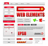 Hi-End Web Interface Design Elements Red Version 2