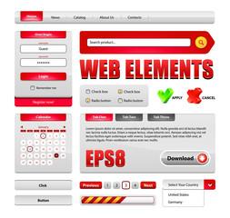 Hi-End Web Interface Design Elements Red Version 2