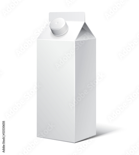 3D Milk Carton Packages Blank White With Lid: EPS10
