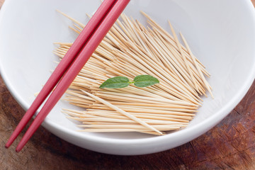 Toothpicks in dish