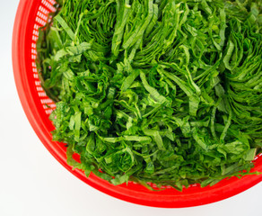 Chopped mustard greens in a red strainer isolated on white