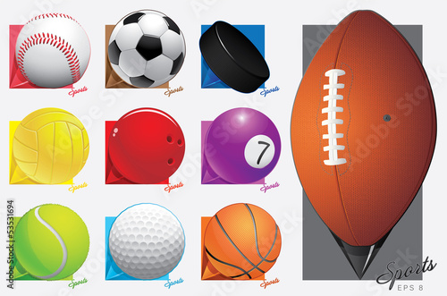colorful vector sport balls. map pointer. eps 8