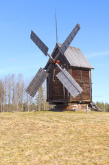 Old wooden windmill in Malye Karely (Little Karely) near Arkhang
