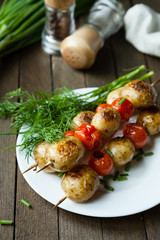 vegetable skewers with potatoes