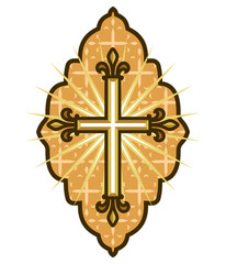 Golden cross icon