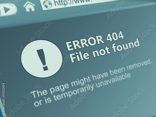 Website with Not Found 404 error