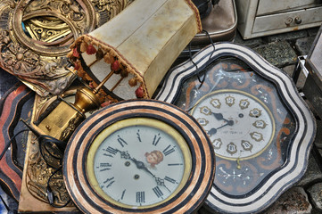 old objects at Marolles district flea market in Brussels
