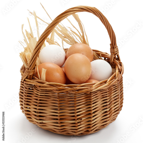Leinwandbild Motiv Eier im Korb