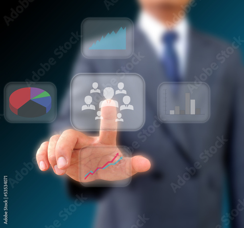 Businessman works with business Network Display