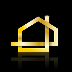 Vector golden 	Logo strip house