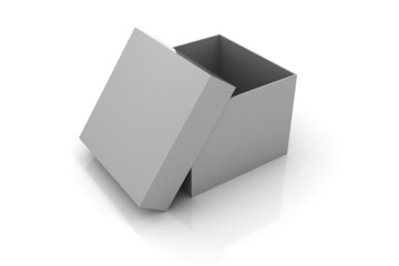 Open gray box isolated on white background.