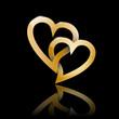 Golden Vector Logo two hearts