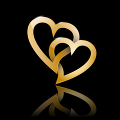 Golden Vector Logo two hearts