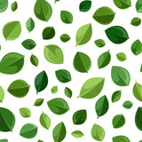 Seamless background with green leaves. Vector illustration.