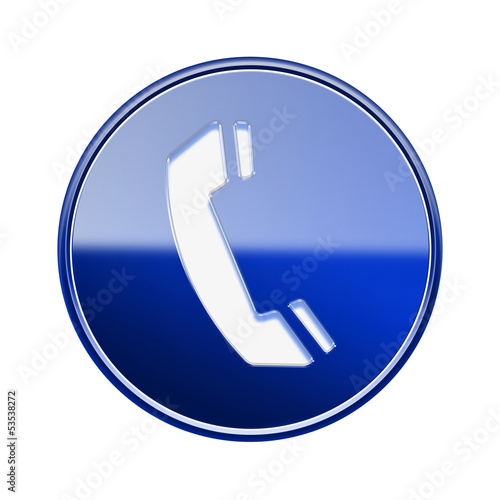 Phone icon glossy blue, isolated on white background