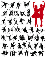 Ballet female dancers vector silhouettes