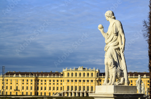 Vienna - Greek statue with the Schonbrunn palace