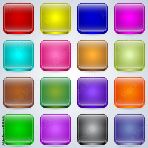Colorful glass buttons vector set