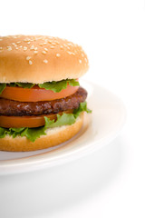 Burger in dish isolated