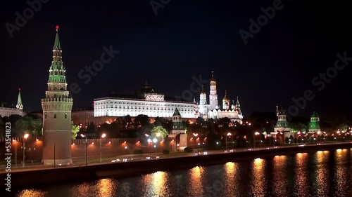 View of the Kremlin embankment at night in Moscow