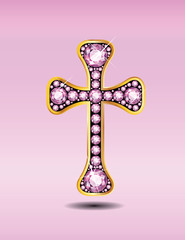 Christian Cross in Gold with Rose Quartz Stones