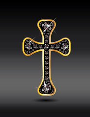 Christian Cross in Gold with Black Onyx Stones