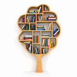 Tree of knowledge. Bookshelf on white background.