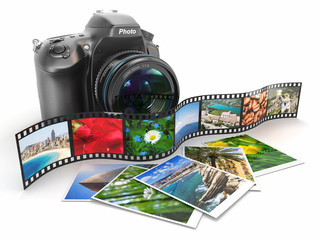 Photography. Slr camera, film and photos.