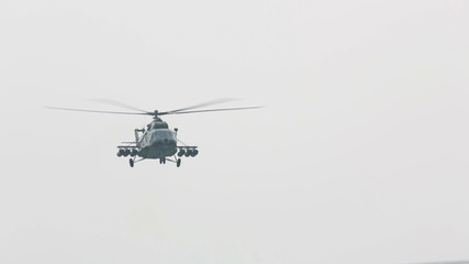 Mil Mi-8 russian military helicopter flying by.