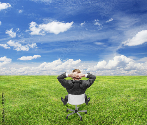businnessman sitting on nature