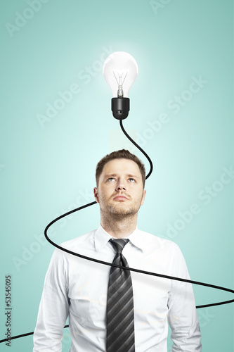 man and lamp with cable