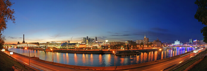 Moscow, Russia. Night. Panoramic view from the embankment