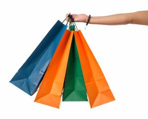 Frau hält Einkaufstüten