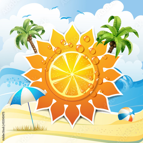 Solar shape with orange fruit and palm trees in summer beach