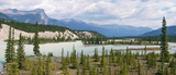 Athabasca river panorama with Rocky Mountains, Alberta, Canada