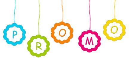 Etiqueta de colores con la palabra Promo