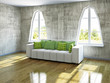White sofa near the windows