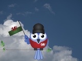 Comical Welsh flag waving bird Patriot