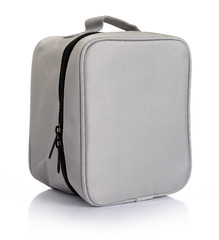 Small gray bag with zipper on white background