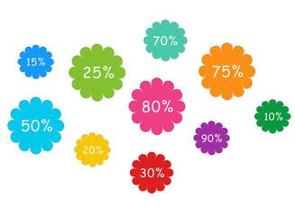 Etiquetas de colores con descuentos, ofertas