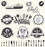 Fototapety Vector Set: Retro Style Master Chef Labels and Icons
