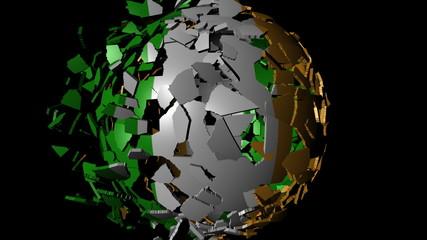 Irish flag sphere combining and breaking apart animation