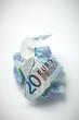 Crumpled twenty euros bill