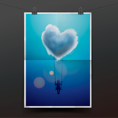 Child on swing under heart shape cloud, vector Eps10 image.