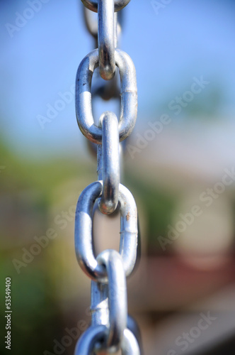 Chain Links - Shows a closeup of a metal chain link segment from