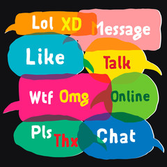 Speech bubbles with acronyms, vector Eps10 illustration.