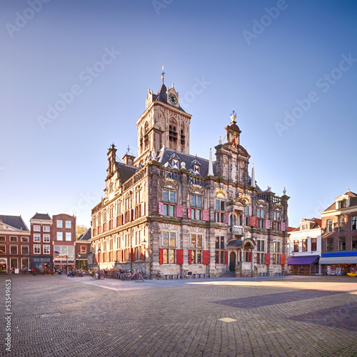 The Renaissance style City Hall of Delft, Holland