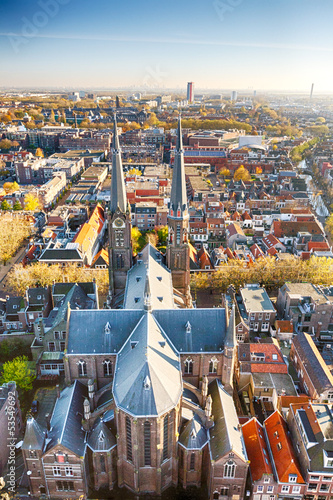 The old European town of Delft, Holland