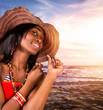 Sexy african woman on the beach